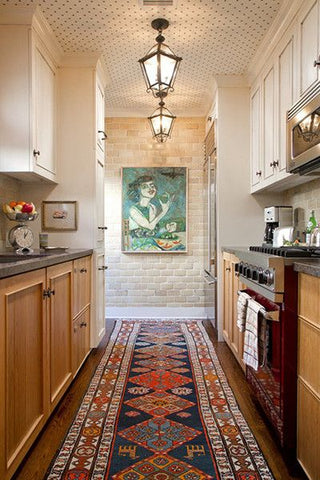 Oriental runner rug in a neutral colored kitchen