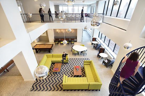 Geometric pattern rug in corporate office lounge