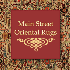 Oriental design with red backdrop and logo saying main street oriental rugs