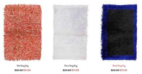 Three featured shag rugs from RugKnots.com