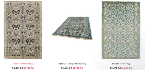 Three Ikat rectangular area rugs from RugKnots.com