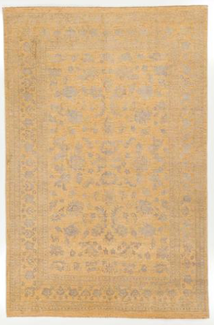 Gold Wool and Silk Rug