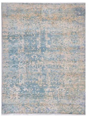 Sky Blue and Brown Wool and Silk Rug