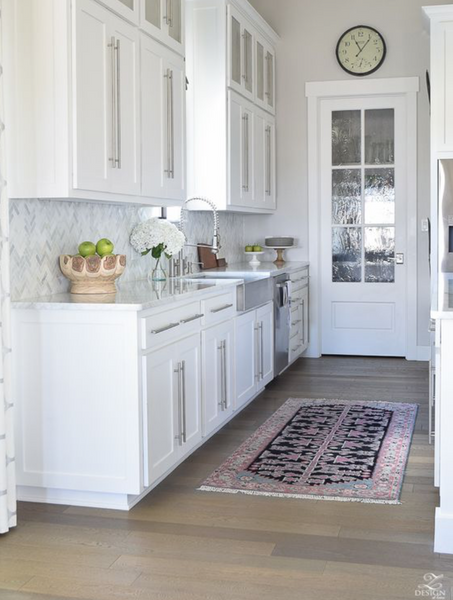 Runner rug from RugKnots.com between cabinets and an island in the kitchen & Kitchen Design Ideas | RugKnots