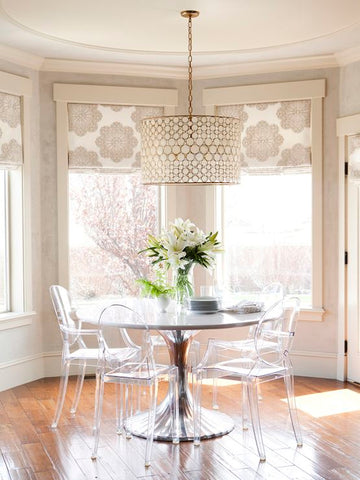 Alice Lane Home - dining rooms - Oly Studio Serena Drum Chandelier, Oly Studio Luca Dining Table, bay window: