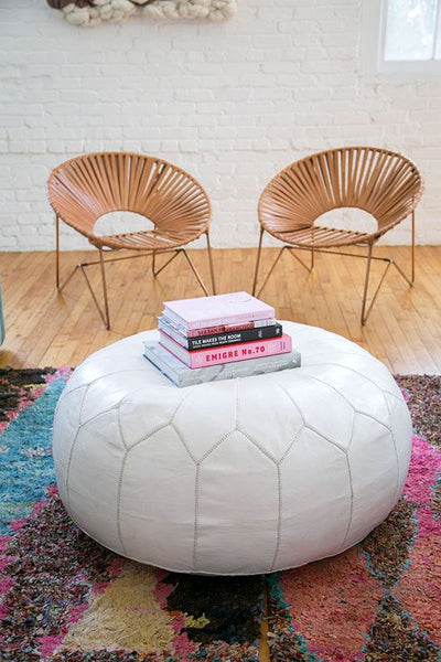 leather aldama chairs from the citizenry and maven collection leather pouf / sfgirlbybay:
