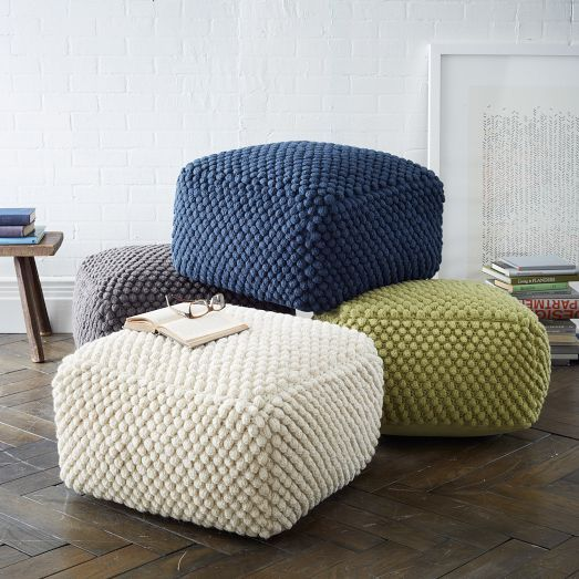 Our Bubble Knit Poufs are a smart, squishy way to create extra seating without taking up too much space in a room. Float them on a rug or tuck under a console when they're not in use. Great for living areas, TV rooms and nurseries.: