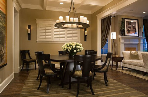 Attractive Large Rectangular Area Rug Under A Round Dining Room Table