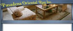 Blue backdrop with logo saying Pasadena oriental rug inc.