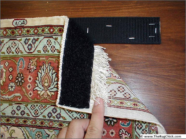 hang an oriental rug; velcro; hang rug; hang rug with velcro