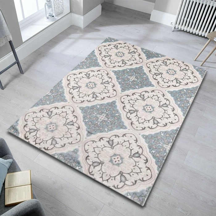 Teal Boho Chic Area Rug