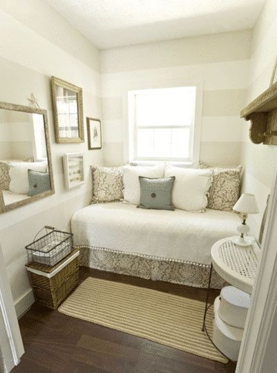 Double Duty Guest Rooms I LOVE the striped wall! Can't wait to be able to use that in a house someday!: