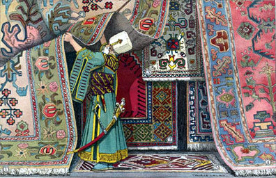 Person inspecting oriental rugs