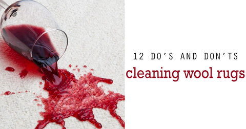 Wine spill on white wool rug with text-12 do's and don'ts cleaning wool rugs