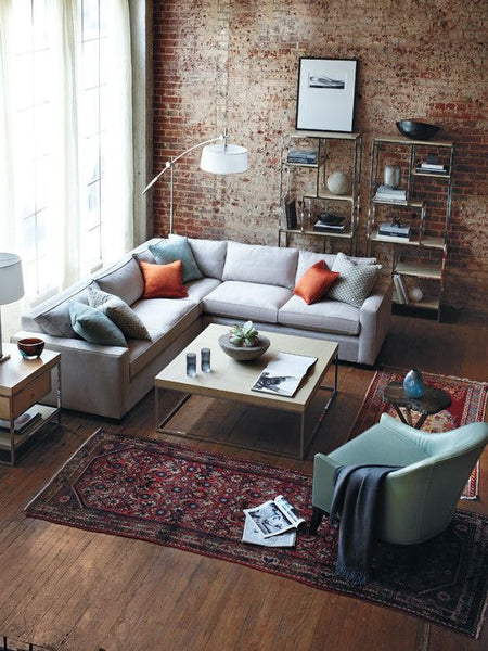 Rustic Modern/industrial Living Room. Brick Wall Accent, L Shaped Grey Sofa,