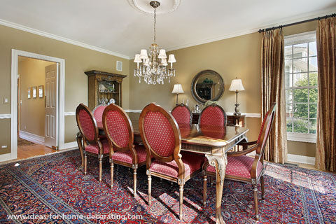 Large Rectangular Area Rug Under A Small Dining Room Table