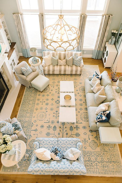 blue oriental rug ; living room area rug
