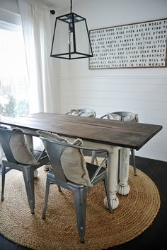 A large round oriental rug under a rectangular dining room table & How to Choose the Best Rug Shape for your Space | RugKnots |