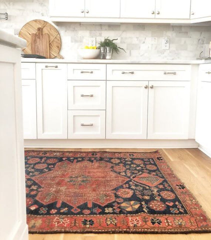 Kurdish rug in kitchen
