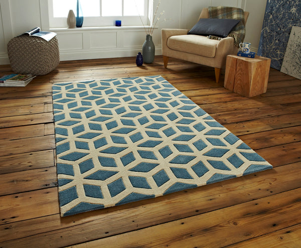 Geometric wool area rug on hardwood floor
