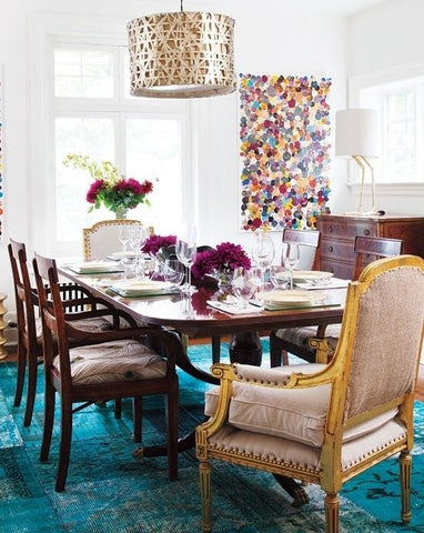 blue patchwork rug: dining room rug