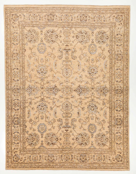Tan wool and silk knotted rug