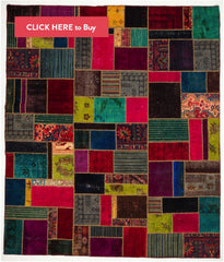 Patchwork Rug- bright multi color- rugknots
