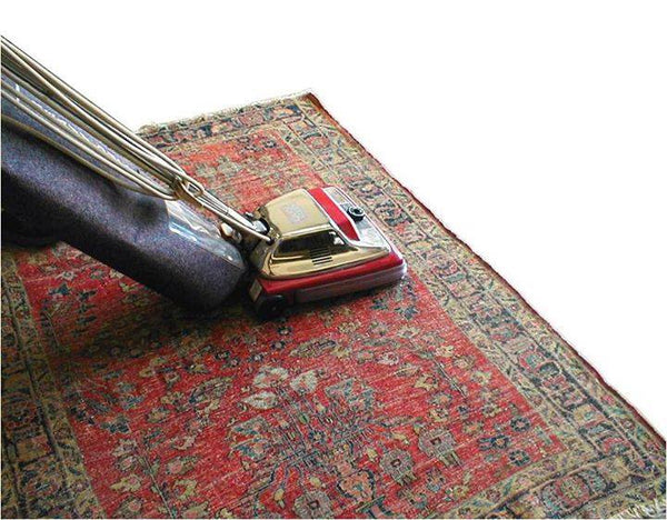 Vacuuming side to side on an oriental rug