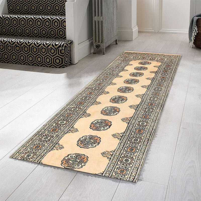 2' 6 x 9' 5 Hand-knotted Pakistani Wool Bokhara Oriental Rug Navajo White 45366, {product_vendor}