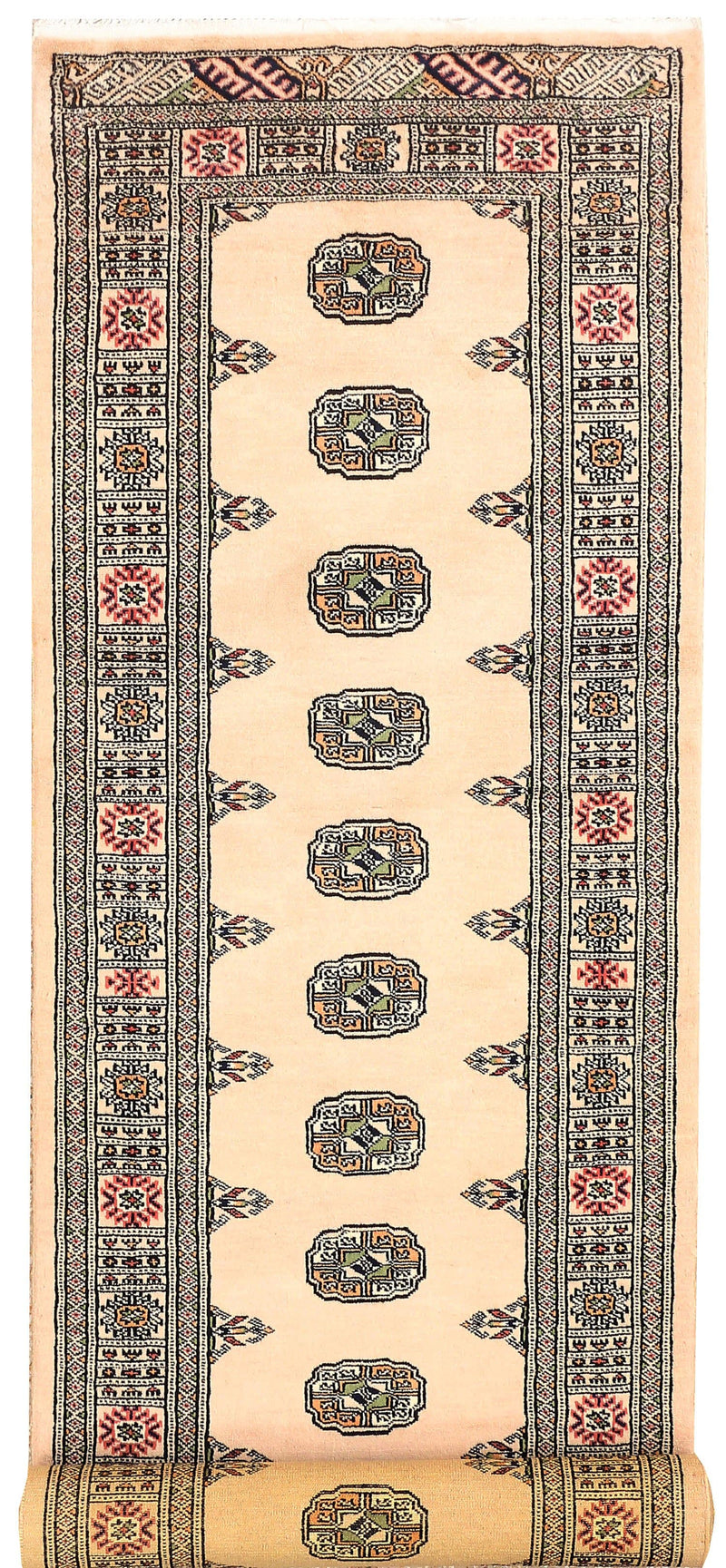 2' 7 x 10' 2 Hand-knotted Pakistani Wool Bokhara Oriental Rug Antique White 45465, {product_vendor}