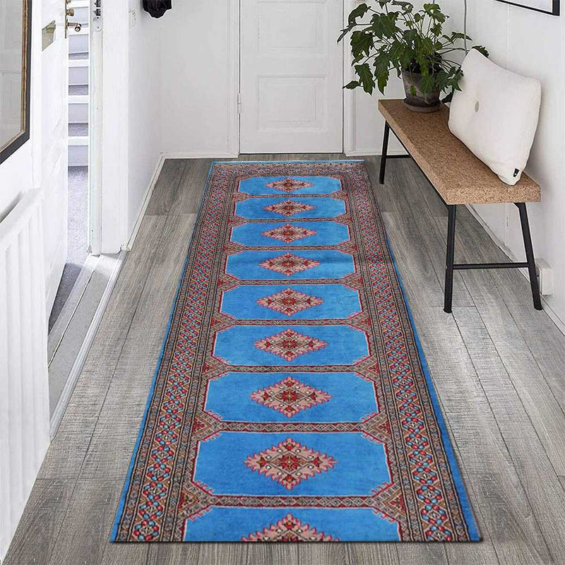 2' 8 x 10' 9 Hand-knotted Pakistani Wool Bokhara Oriental Rug Dodger Blue 45684, {product_vendor}