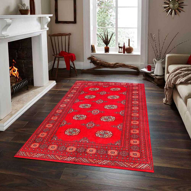 4' 6 x 7' 3 Hand-knotted Pakistani Wool Bokhara Oriental Rug Red 45881, {product_vendor}