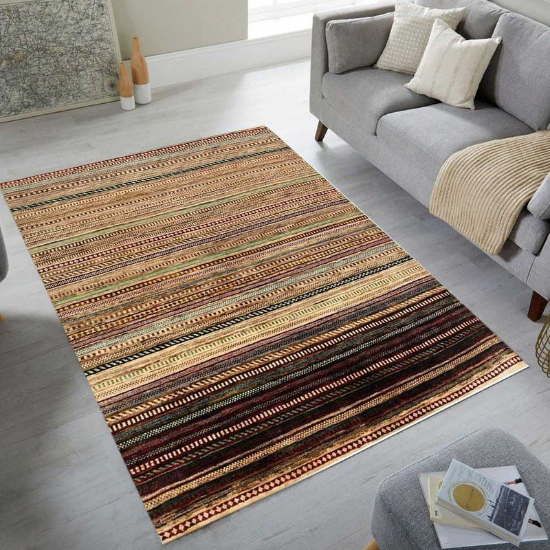 6' 7 x 7' 7 Hand-knotted Pakistani Wool Gabbeh Carpet Multi-Color 56008, {product_vendor}