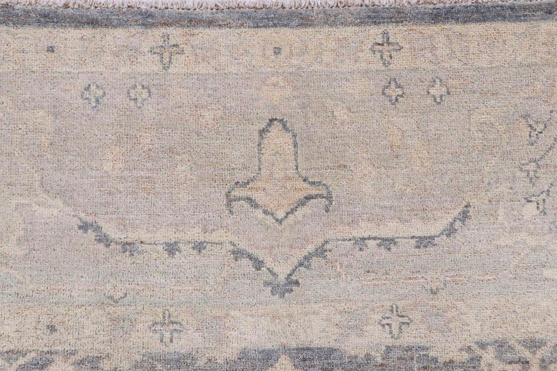 9' 2 x 11' 8 Hand-knotted Afghan Wool Oushak Rug Dark Grey 58066, {product_vendor}