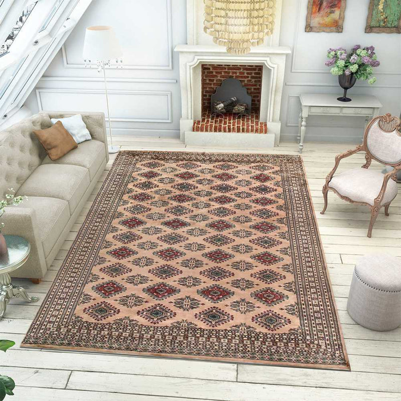 8' 2 x 10' 10 Hand-knotted Pakistani Wool Caucasian Rug Burlywood 58412, {product_vendor}