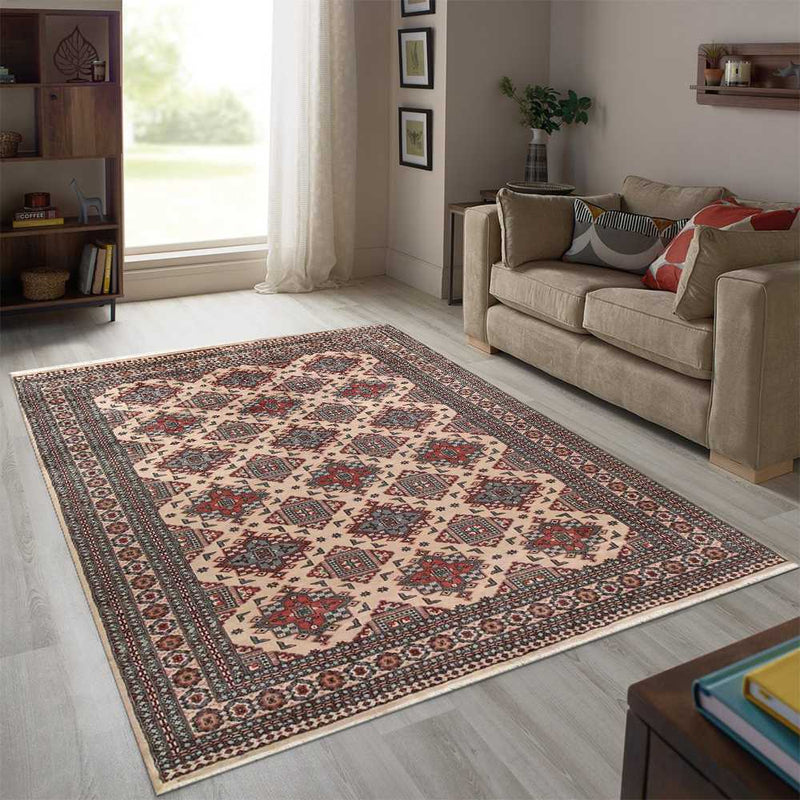8' 1 x 10' 5 Hand-knotted Pakistani Wool Caucasian Rug Bisque 58422, {product_vendor}