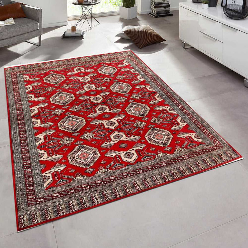 8' 1 x 10' 4 Hand-knotted Pakistani Wool Caucasian Rug Firebrick 58483, {product_vendor}