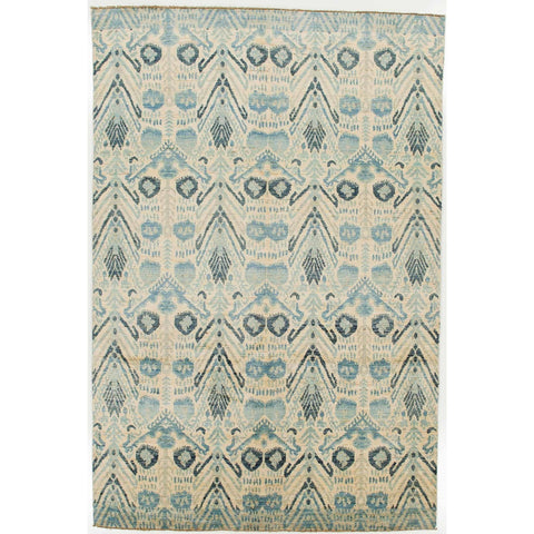 5.92 x 8.95' Blue and Tan Ikat Rug