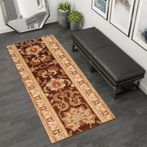2.67 x 14.67' Dark Brown and Beige Peshawar Ziegler Runner Rug