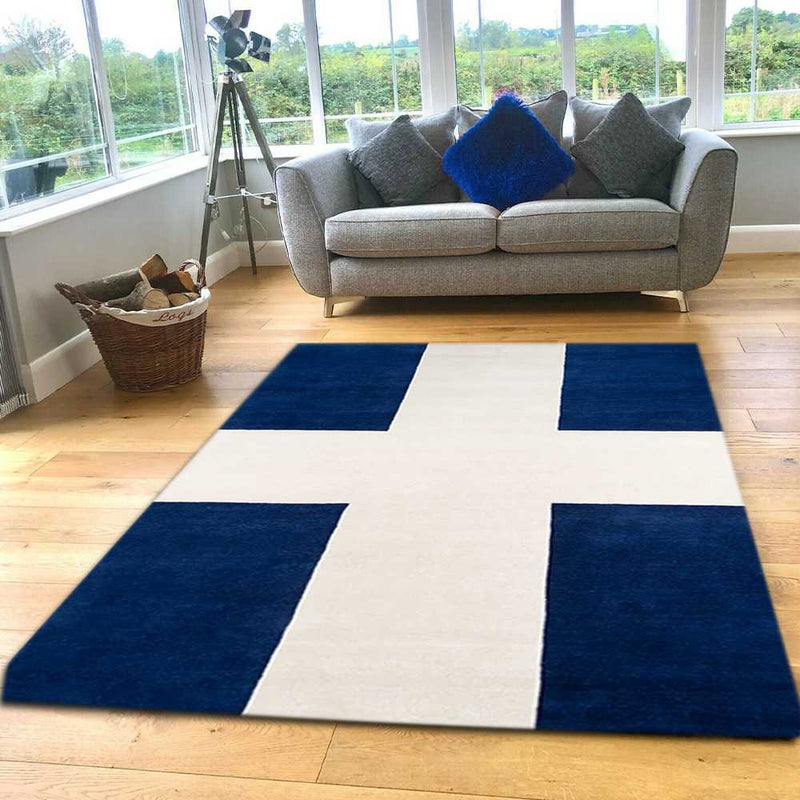 Navy Contemporary Area Rug