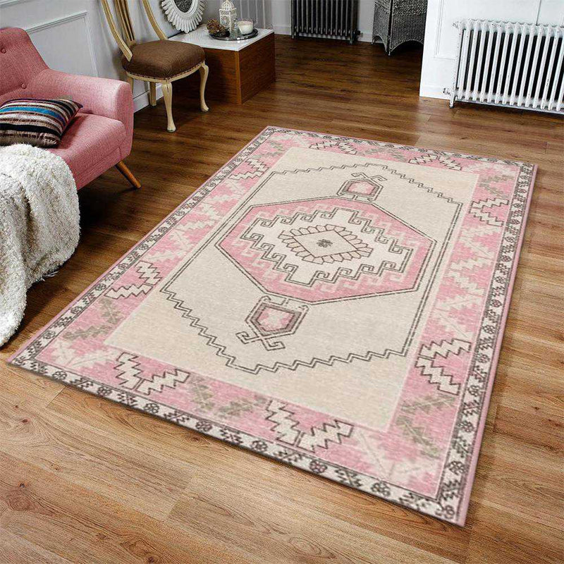 Pink Boho Chic Area Rug