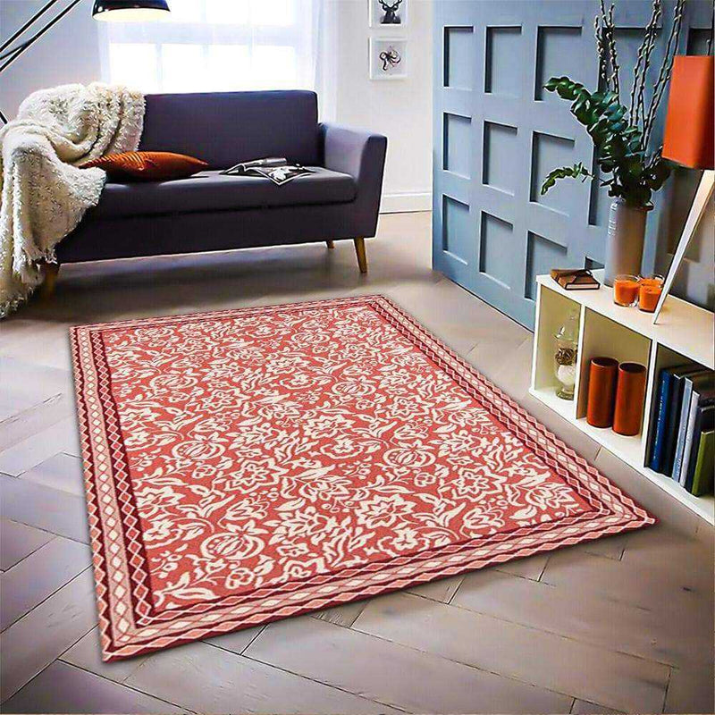 Red Geometric Area Rug