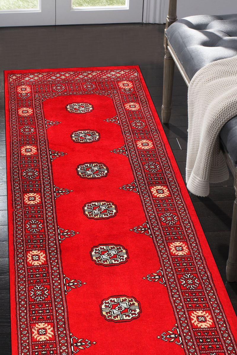 2' 4 x 10' 1 Hand-knotted Pakistani Wool Bokhara Oriental Rug Red 45509, {product_vendor}