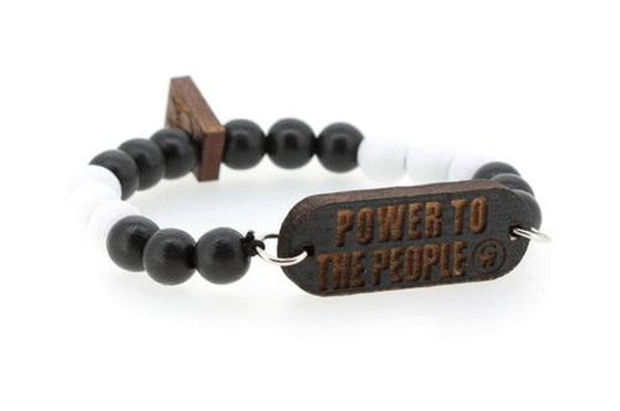 "Bijoux homme, bracelet bois noir et blanc ""power to the people"""