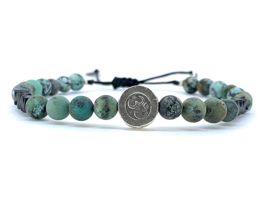 bracelet homme perle turquoise coulissant