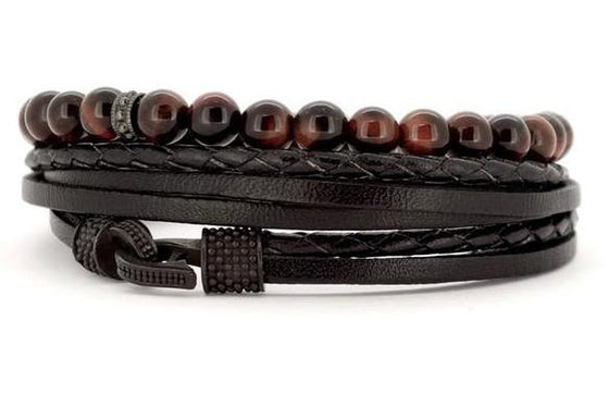 bracelet homme en cuir et perle medium creek grenat rouge