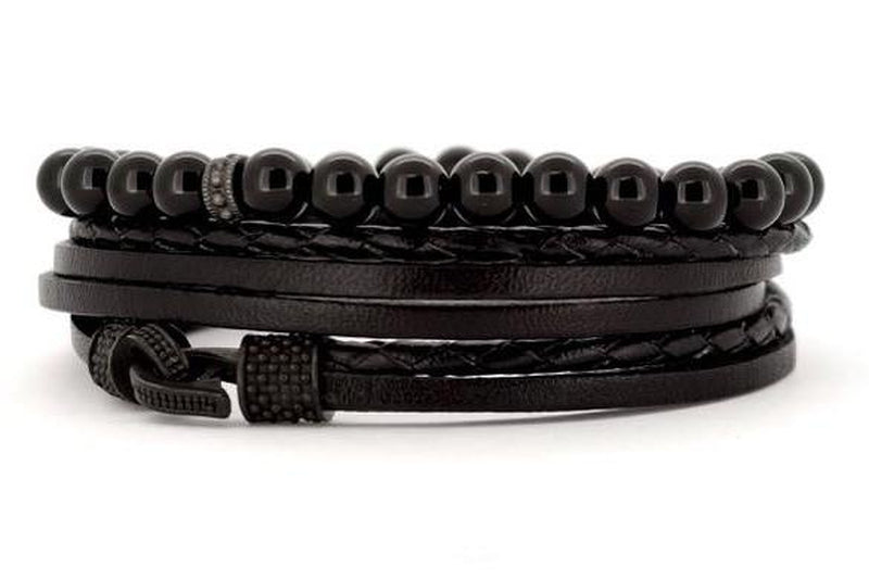 bracelet homme wrap medium creek cuir et perle noir