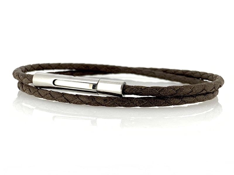 Bracelet cuir homme tresse fine Plymouth