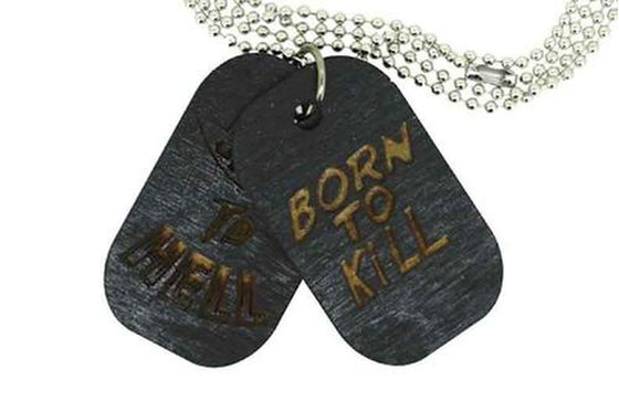 "Collier homme, Plaques militaires ""born to kill"""