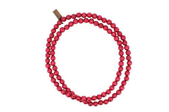 Collier homme, collier homme perles rouge